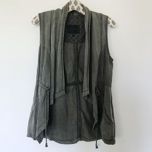 Sanctuary Army Green Utility Drawstring Vest Linen